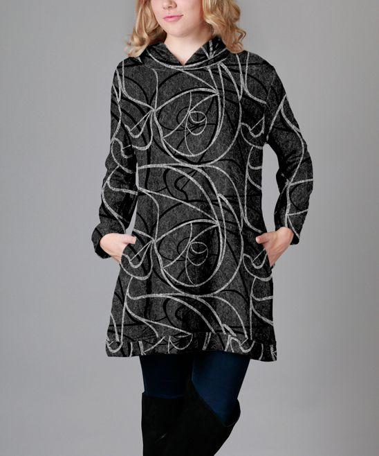 Gray & Black Abstract Hood Tunic - Plus