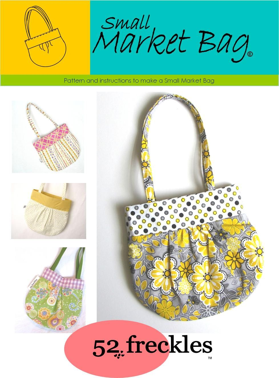 Sewing PATTERN - Small Market Bag .pdf free shipping - stash buster ...