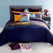 Orange Yellow and Dark Blue Fashion and Luxury Nature Galaxy Stars Exotic Personalized 100% Egyptian Cotton Full, Queen Size Bedding Sets