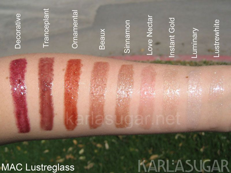 mac lustreglass browns sheers swatches of mac lip gloss - Mac Lip Gloss Colors