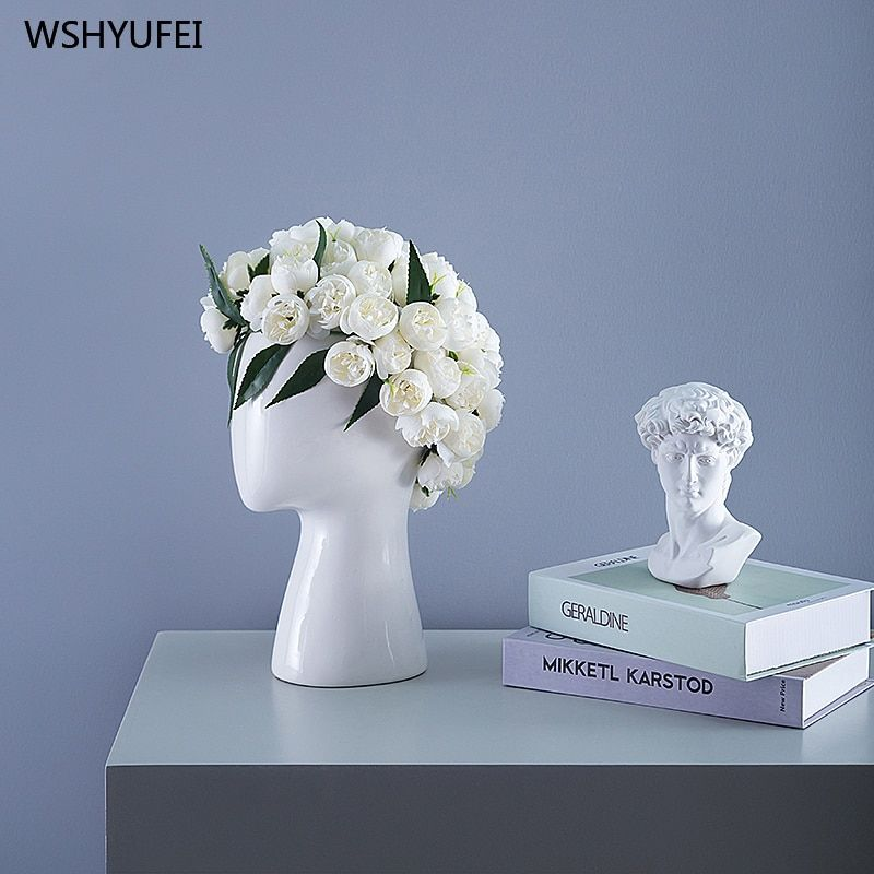 Direct sales new ins human head model ceramic vase creative portrait round hole flower arrangement decorative ornaments vase