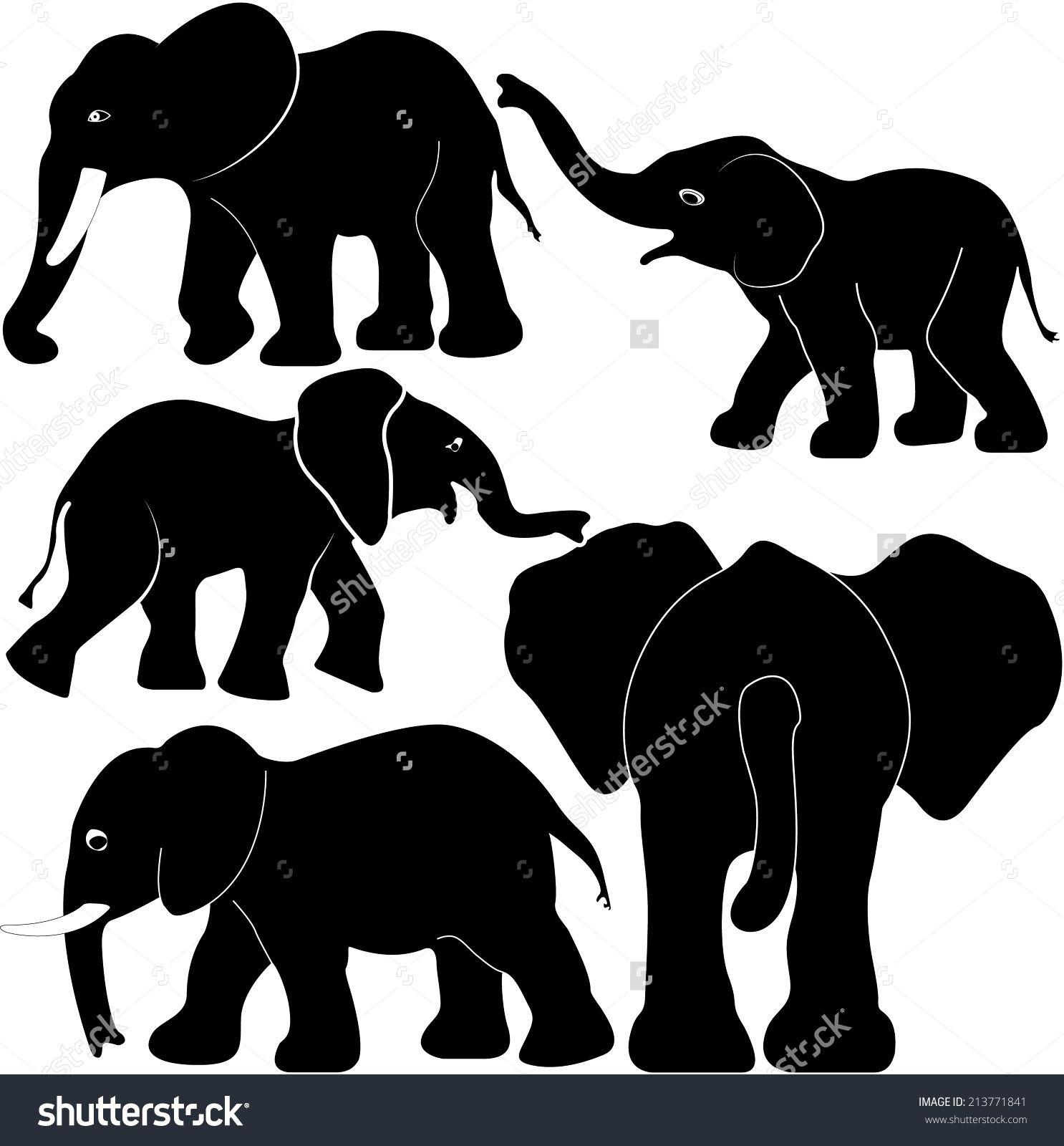 elephant with babies silhouette Google Search Elephant