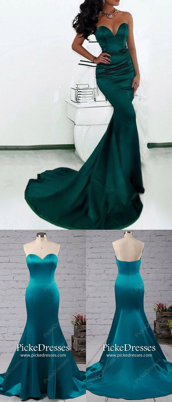 Mermaid prom dresses long modest formal dresses dark green sexy