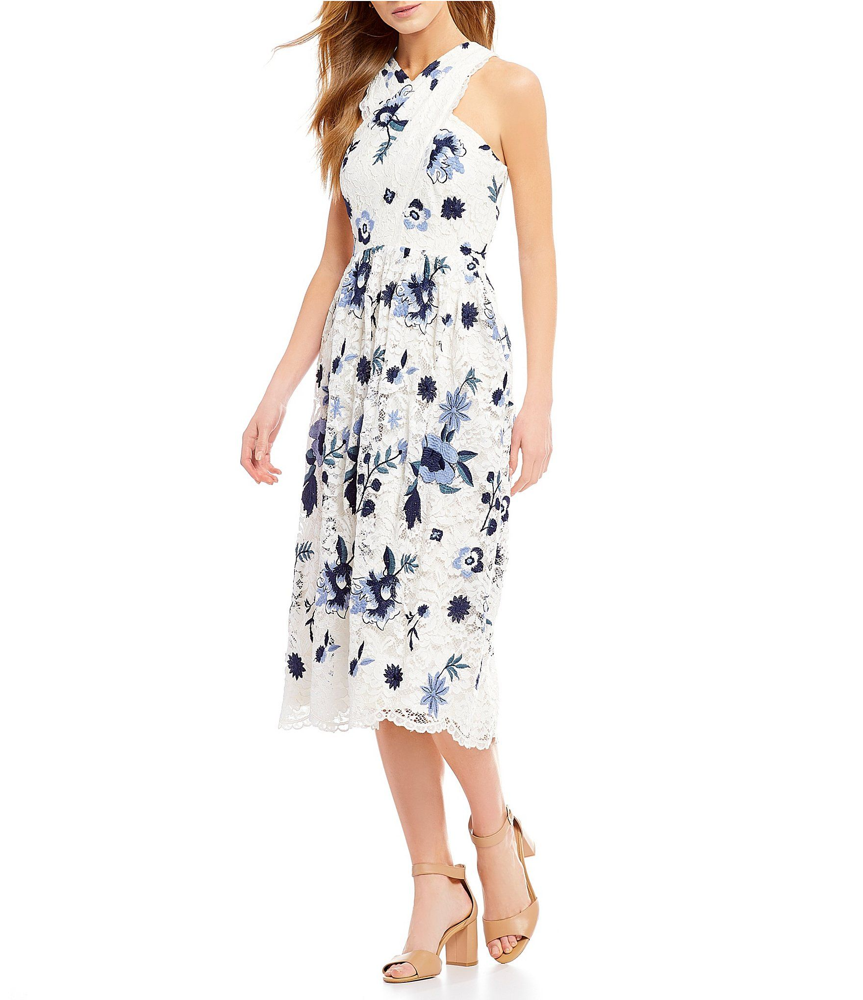 50a4a938bde Antonio Melani Floss Floral Print Lace Halter Midi Dress  Dillards ...
