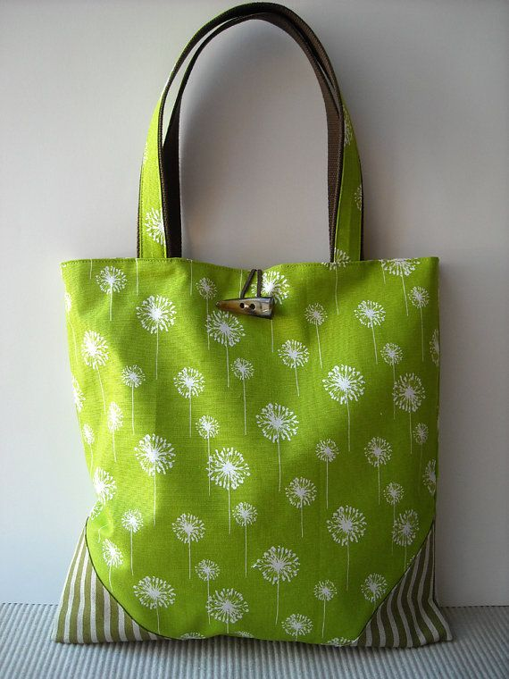 Chartreuse Dandelion  Tote Bag by charmdesign on Etsy, $40.00