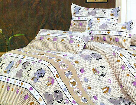 Kids Dog Print Bedding Twin Duvet Cover Set For Girls