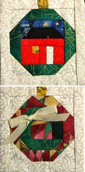 Free Pattern Friday – Paper Pieced Ornaments | Katie's Quilting Corner for Christmas 2012 wall hanging