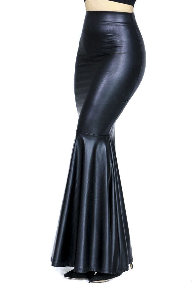 8be3ae51f Black Pvc / Vinyl Mermaid Maxi Long Skirt | Gothic Clothing for ...