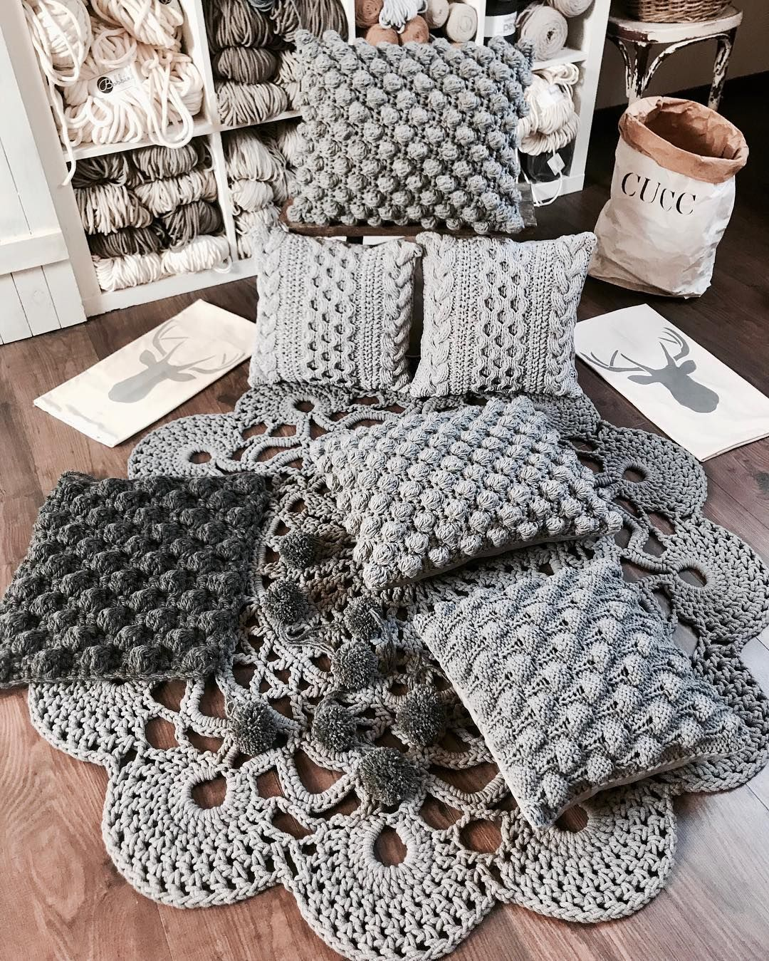 Beautiful textured throw pillows in shades of grey