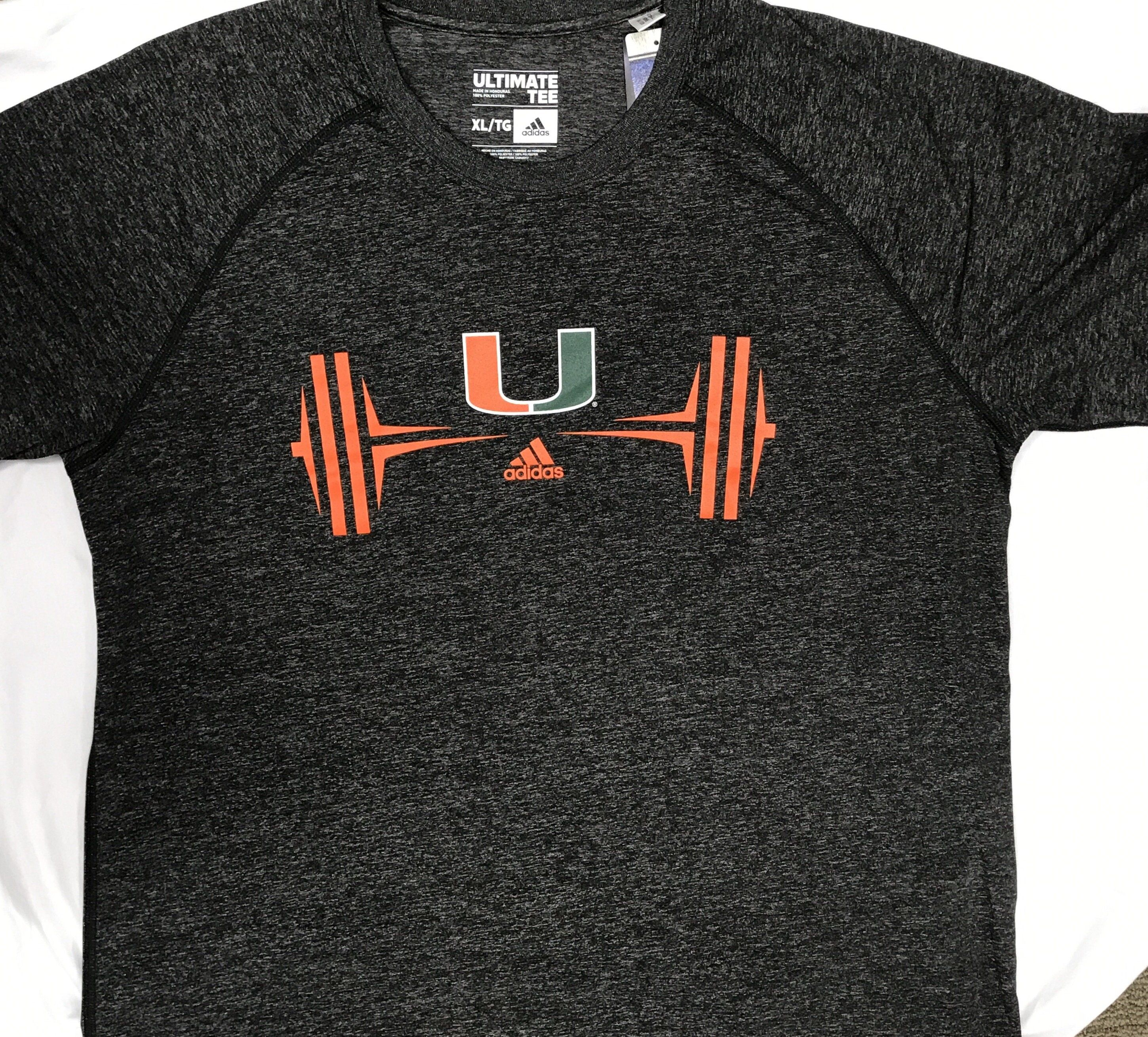 Miami Hurricanes adidas Ultimate Weightlifting T-Shirt - Heather Black  7ef33e7cee