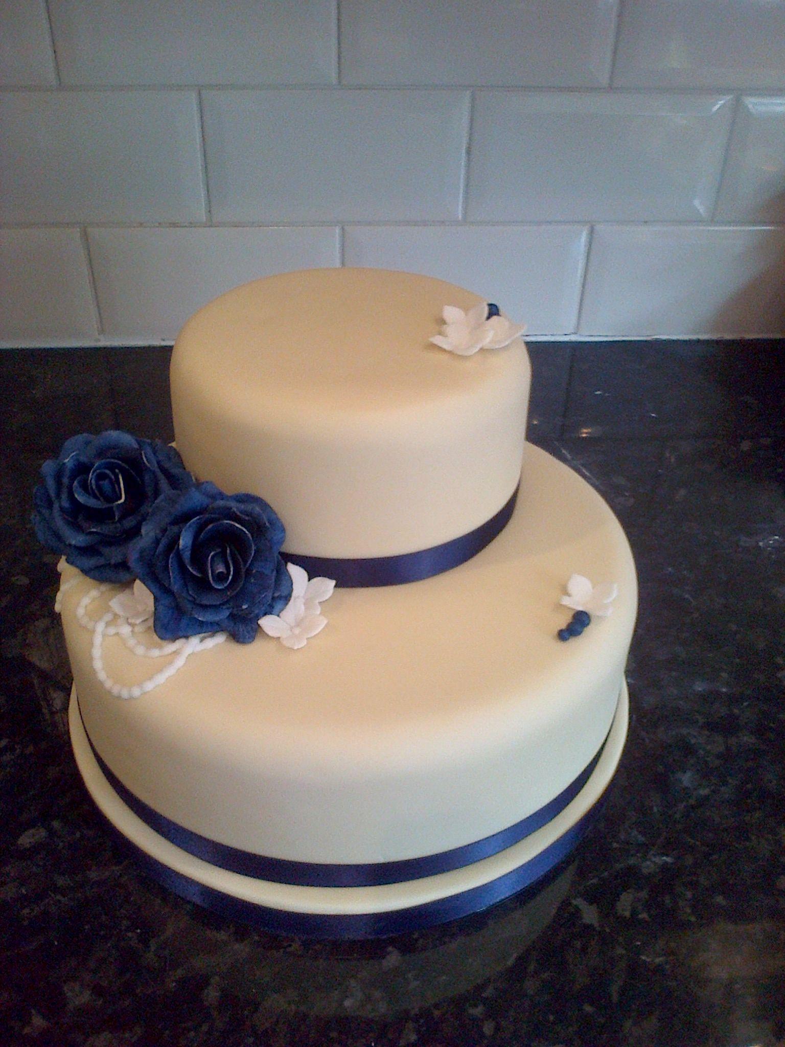 Small Cream U Navy Blue Wedding Cake Take Me To The Temple - Small Blue Wedding Cakes