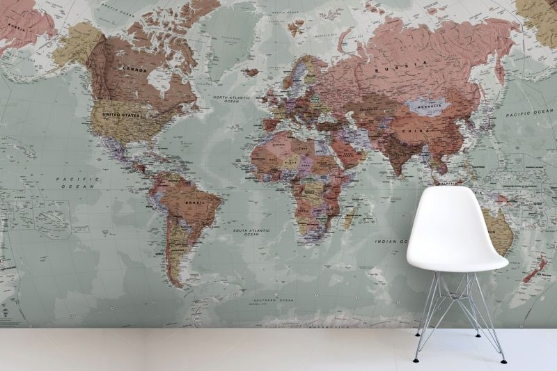 Classic world map wallpaper wall mural muralswallpaper classic world map mural gumiabroncs Images