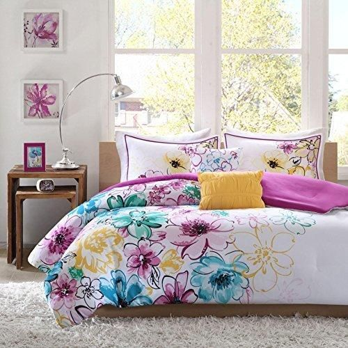 Color floral comforter set blue pink vibrant flowers nature cottage color floral comforter set blue pink vibrant flowers nature cottage lake house white yellow lily spring mightylinksfo