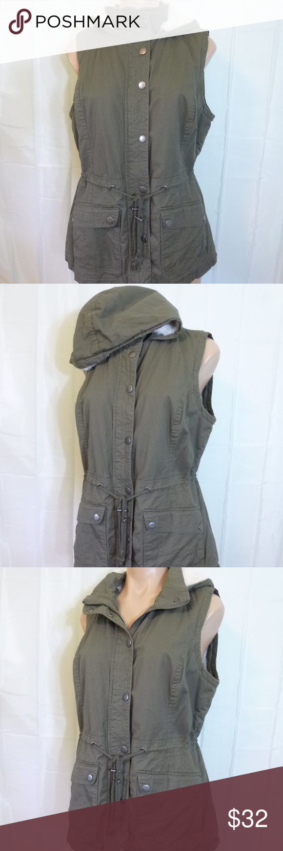 b2df3c418af8e Olive Green Hooded Safari Vest L Sleeveless Jacket NOK NOK olive green sleeveless  jacket vest with an attached hood