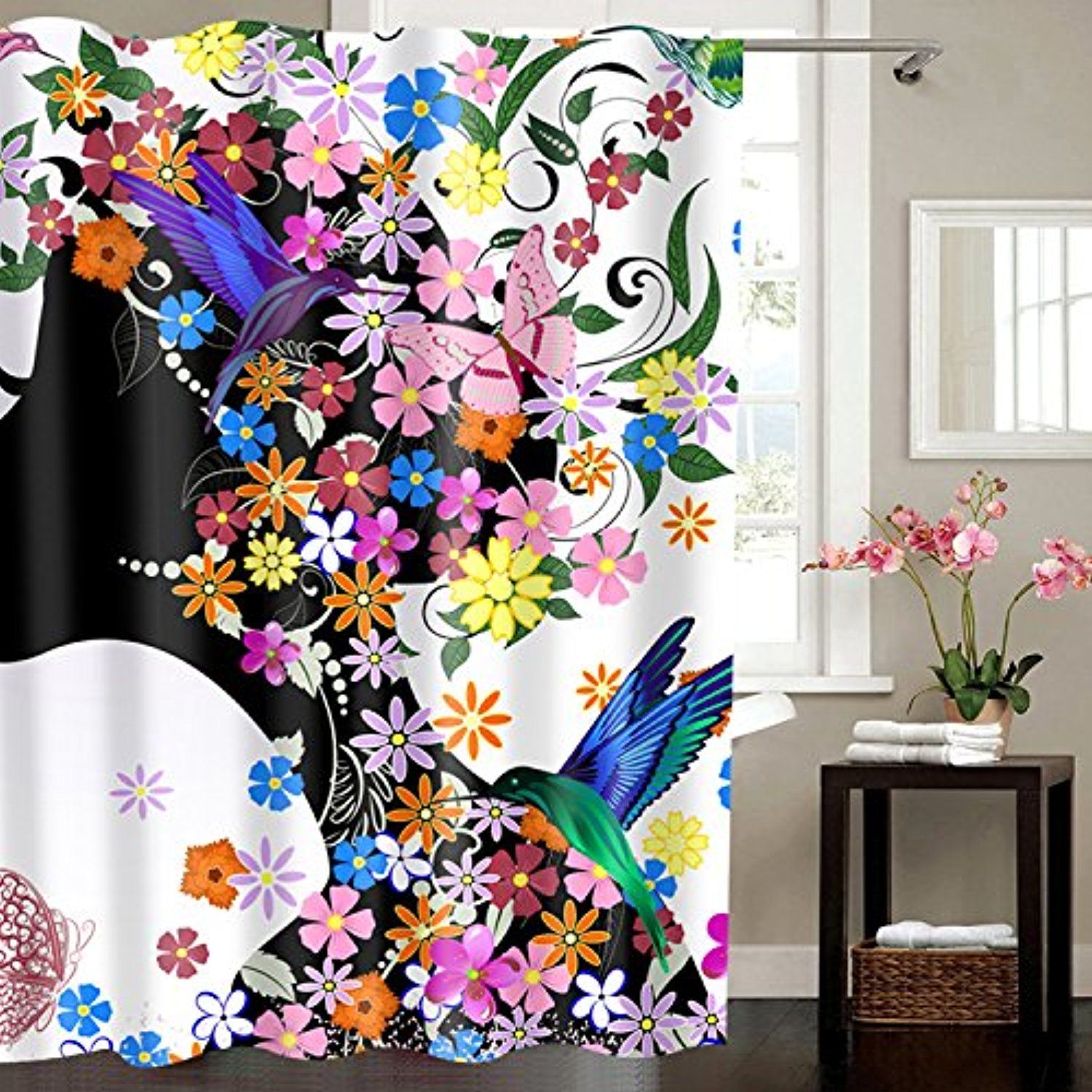 MagicDesign Mildew Resistant Fabric Shower Curtain Non Toxic Eco Friendly Water Repellent Antibacterial Machine Washable To View Further For This Item