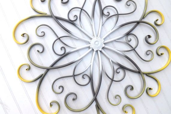 Gray Yellow White Large Metal Wall Art By Theshabbyshak Large Metal Wall Art Metal Wall Art Bedroom Flower Wall Art