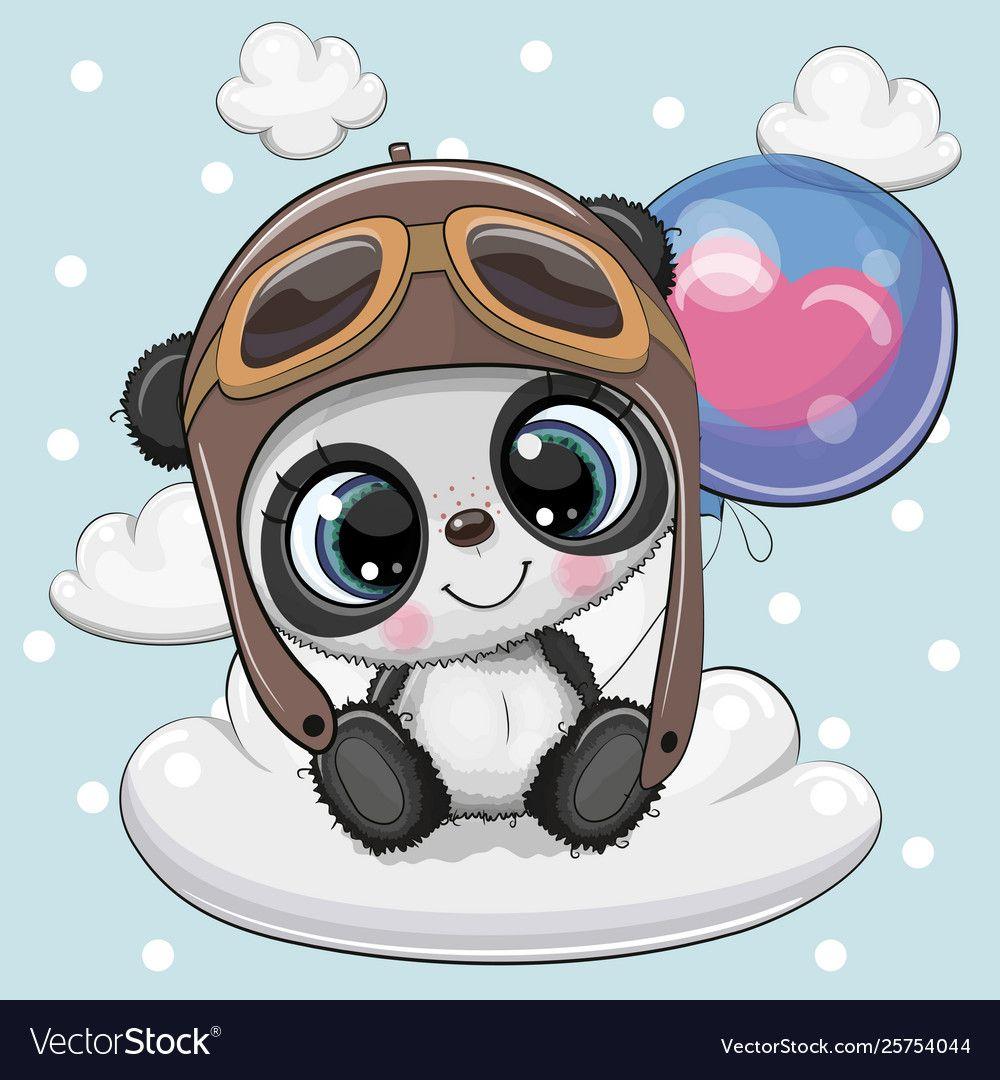 Cute Cartoon Panda Boy With Balloon Vector Image On Imagens