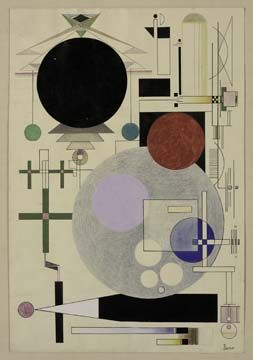 Rudolf Bauer (1889–1953)  Andante, 1928  Watercolor, gouache, ink, and crayon on paper  18 5/8 x 12 5/8 inches (47.3 x 32.1 cm)  Solomon R. Guggenheim Museum, New York  Solomon R. Guggenheim Founding Collection, Gift, Solomon R. Guggenheim  © Estate of Rudolf Bauer, courtesy Weinstein Gallery, San Francisco
