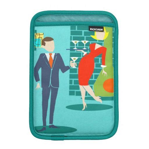 Retro Space Age Cartoon Couple iPad Mini Sleeve--#iPad #electronics #sleeves #retro #1960s #martini #couple #MidCentury #Zazzle