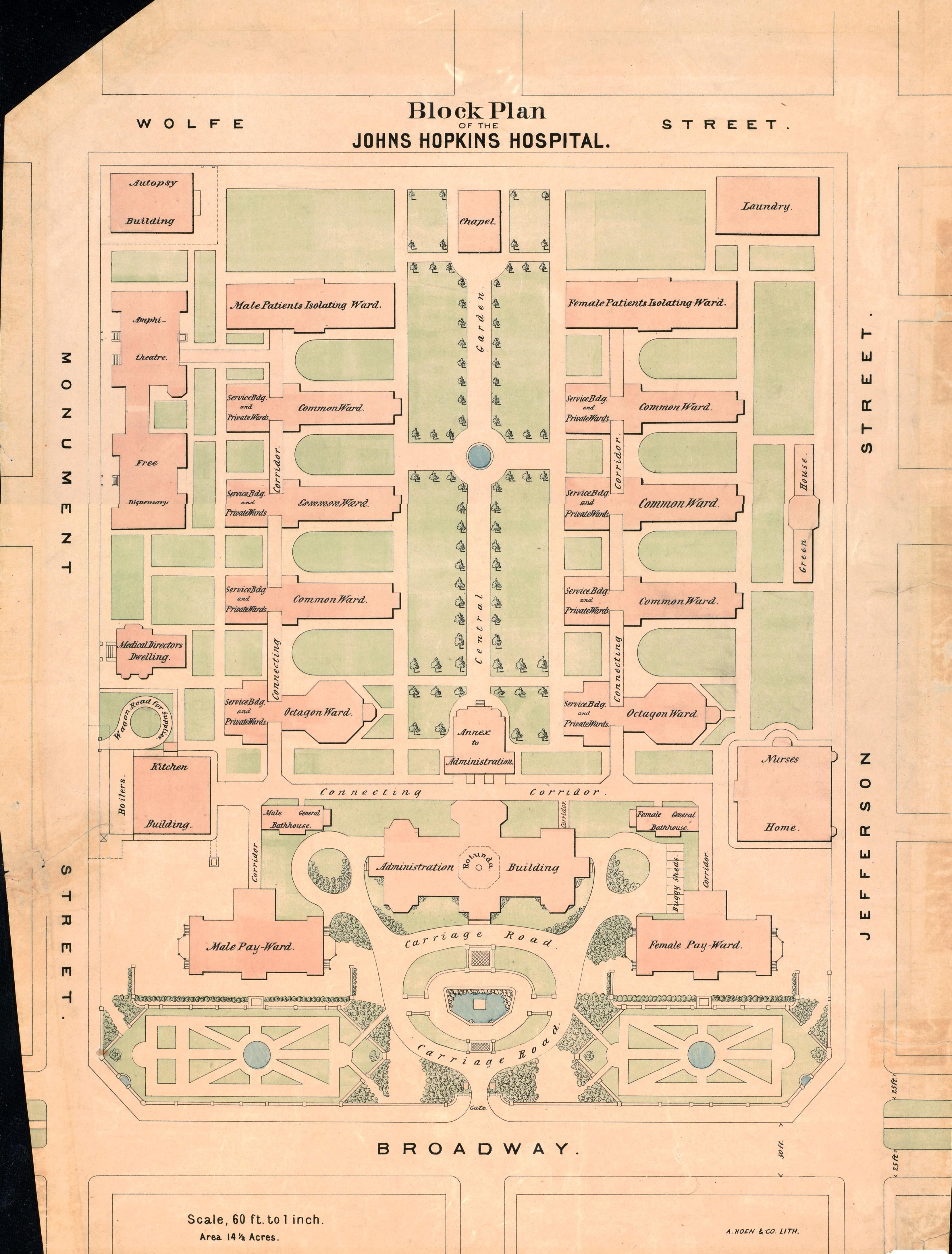 Here's a cool old map from 1877 showing the layout of Johns Hopkins on