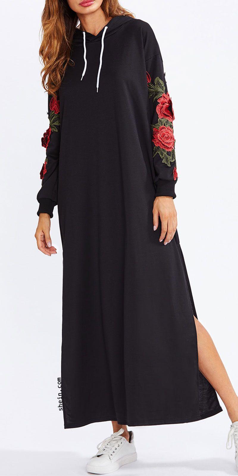 Split side applique hooded dress ropa pinterest hooded dress