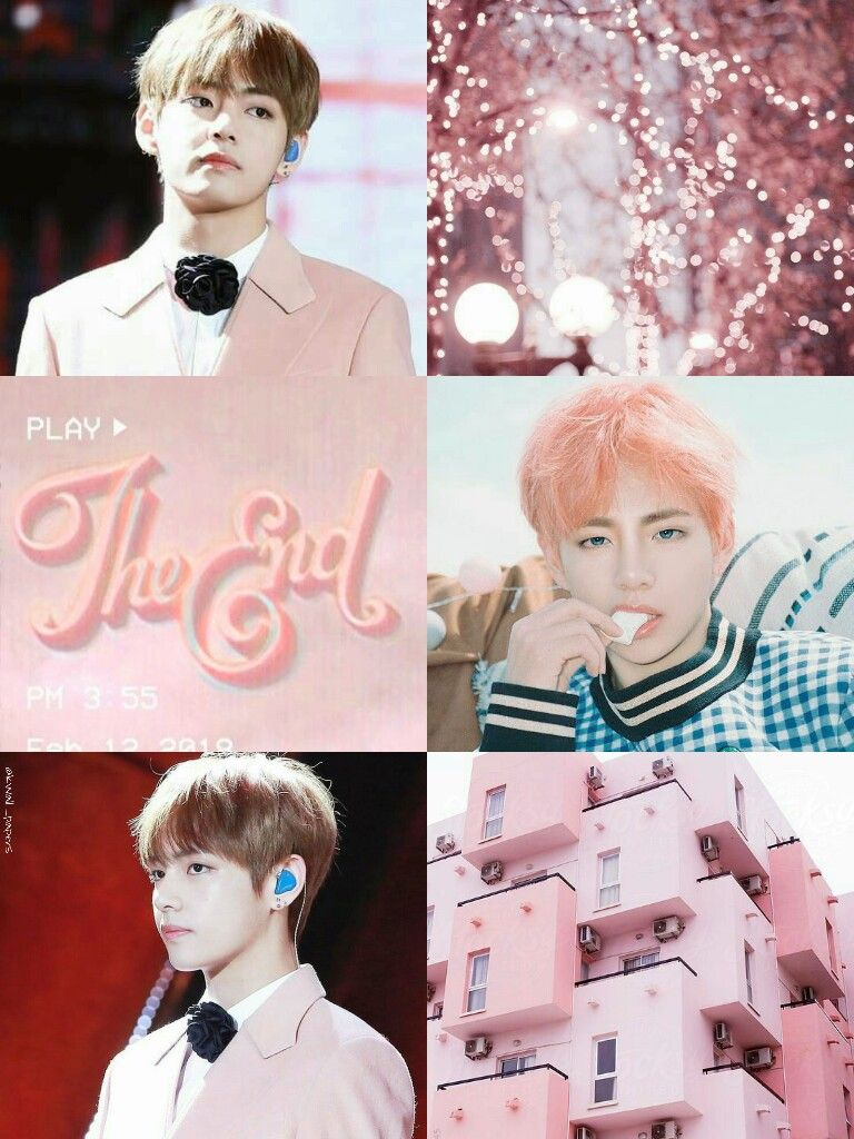 Bts Bangtan Kim Taehyung Pink Aesthetic Collage Wallpaper By
