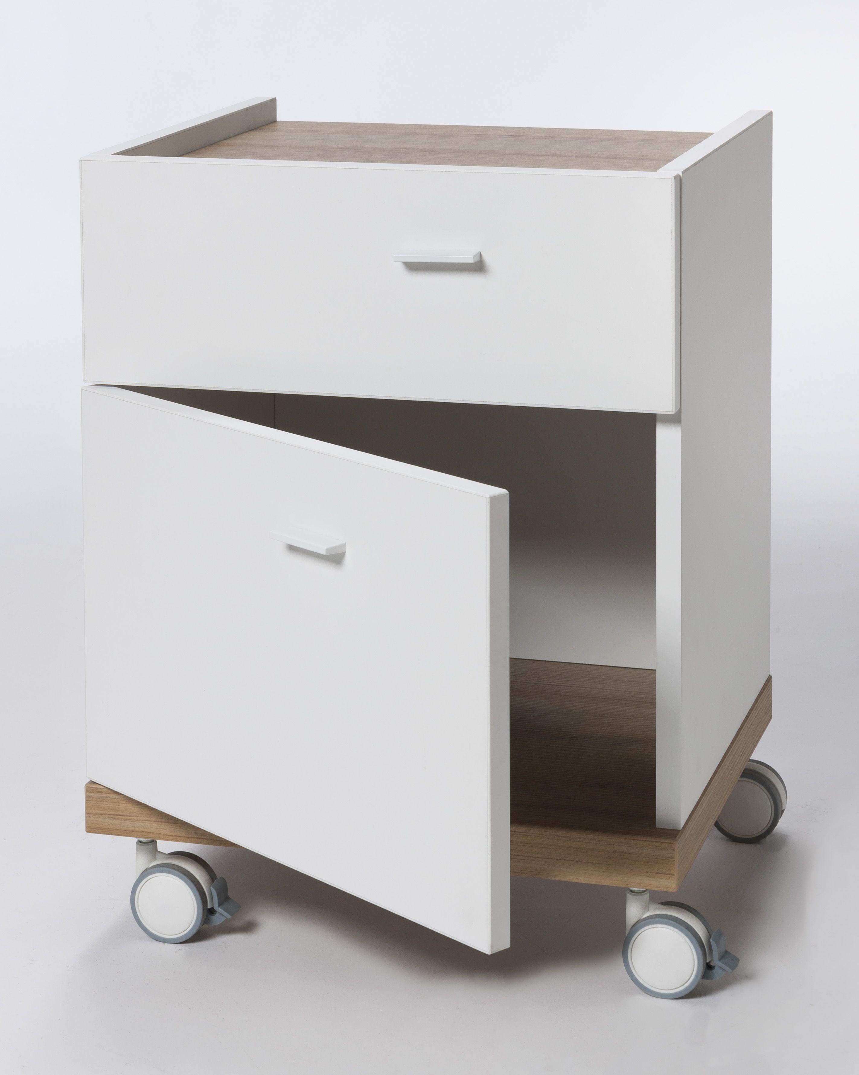 Cassettiere Ikea Con Ruote.Comodino In Legno Bianco Con Ruote Cassetto E Anta Design Moderno
