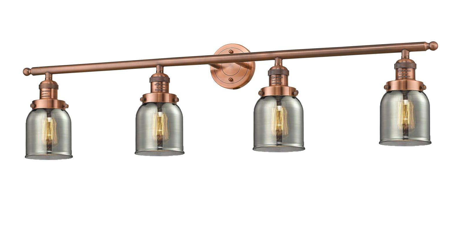 Photo of Innovations Lighting 215-AC-G53 Antique Copper / Smoked 4 Light 42″ Wide Bathroom Vanity Ligh…