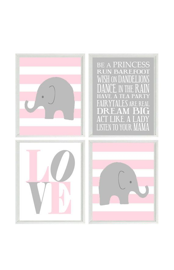 Nursery Art Elephant Stripes Baby Prints Gray Pink Wall Love Modern Decor Playroom Rules Quote 4 8x10 On Etsy 50 00