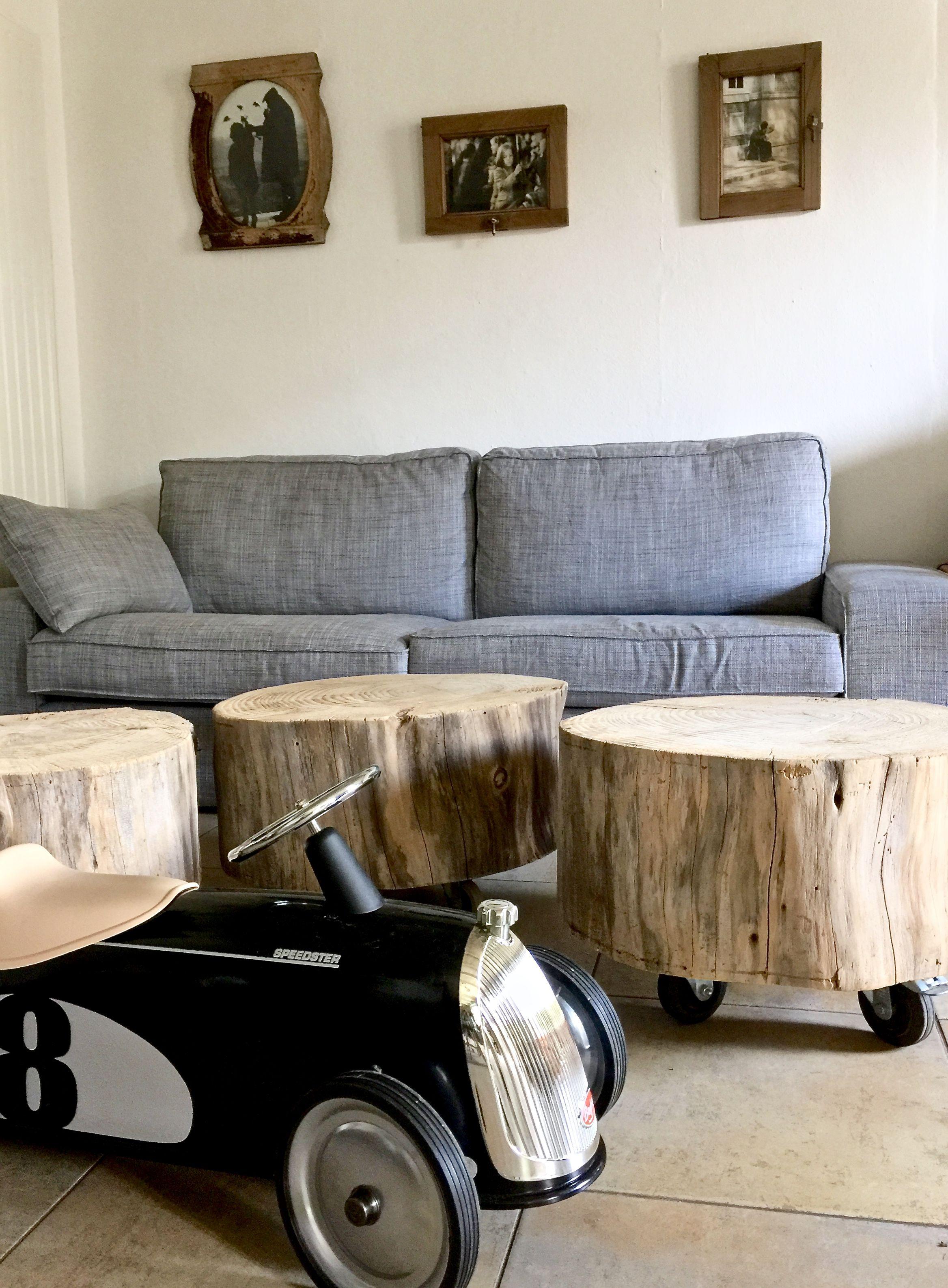 tables basses tronc d 39 arbre sur roulettes d co cr ations et photos par l 39 atelier le meuble du. Black Bedroom Furniture Sets. Home Design Ideas