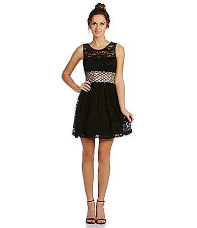 As U Wish Illusionwaist Lace Dress Dillards The Style