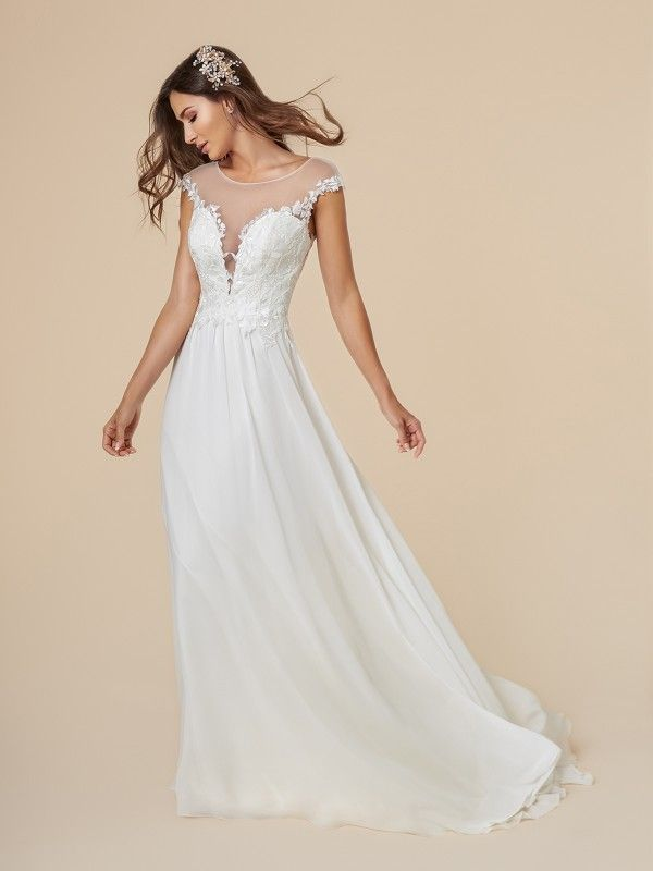 Sexy Chiffon Wedding Dress With Micro Strap Back Casual