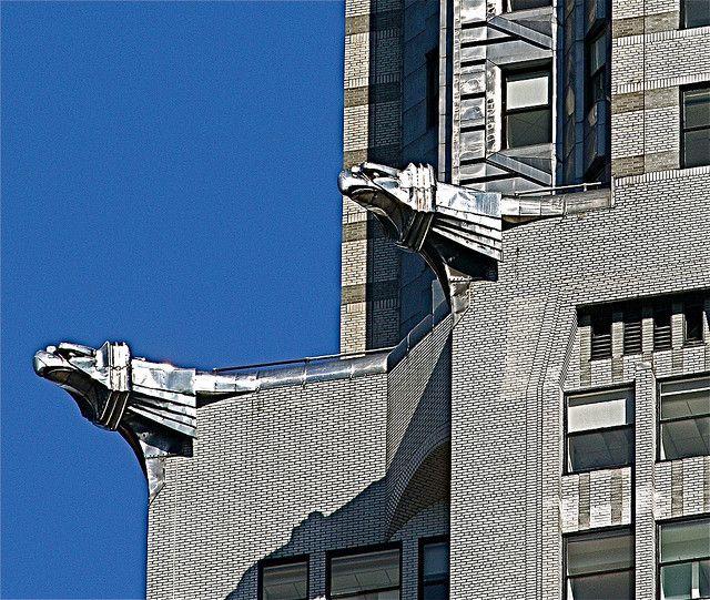 New York City Chrysler Building Eagles Silver Closeup