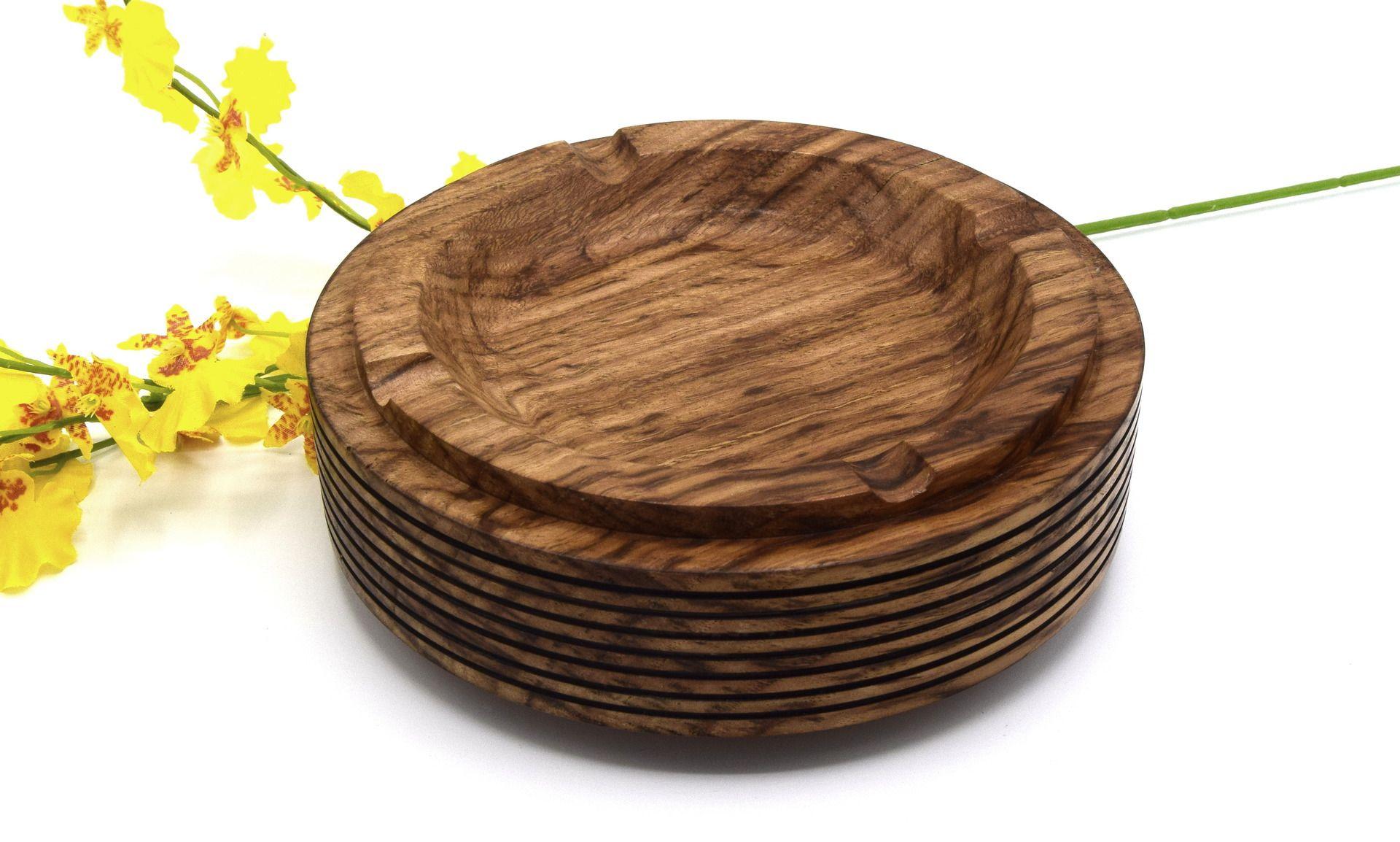 Tour A Bois Accessoires se rapportant à cendrier en bois châtaignier, objet en bois décoratif tourné à la