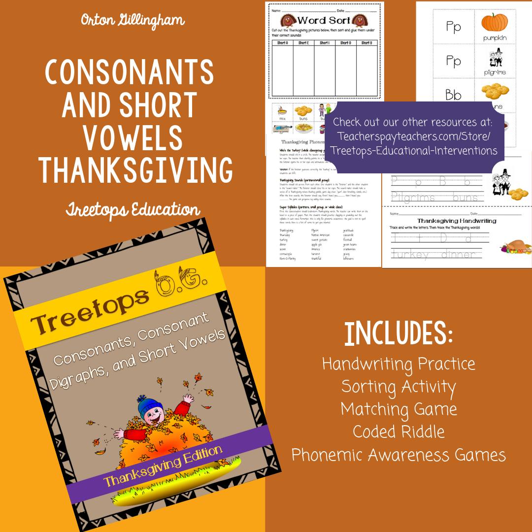 Orton Gillingham Thanksgiving Consonants And Short Vowels