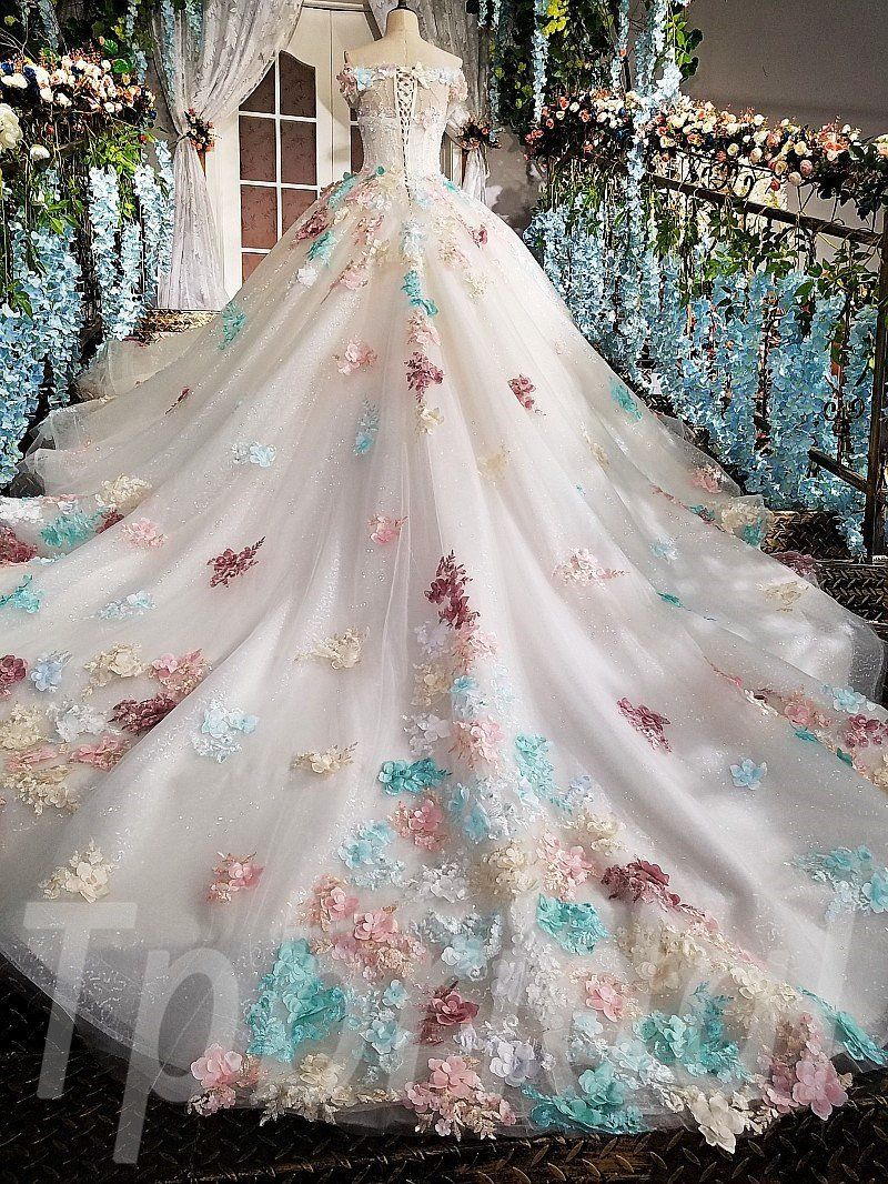 Photo of Pink Wedding Dress Ball Gown Prom Dress With Train For Sale • tpbridal