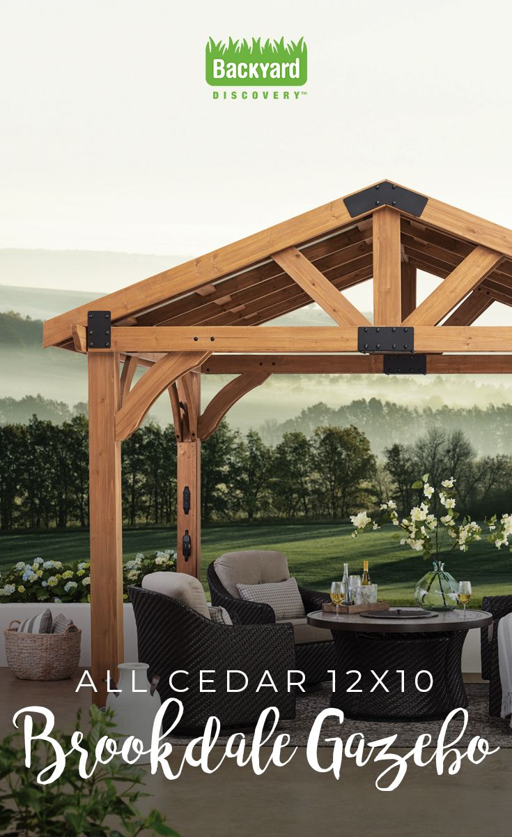 Sold at Sam's Club!  The ideal update to an outdoor living area, this durable cedar gazebo is built to last. We love its electric capabilities for the ultimate in entertaining fun!  #gazebo #pavilion #pergola #rustic #farmhouse #patio #backyard