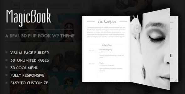 MagicBook - A 3D Flip Book WordPress Theme #wordpresstheme #web ...