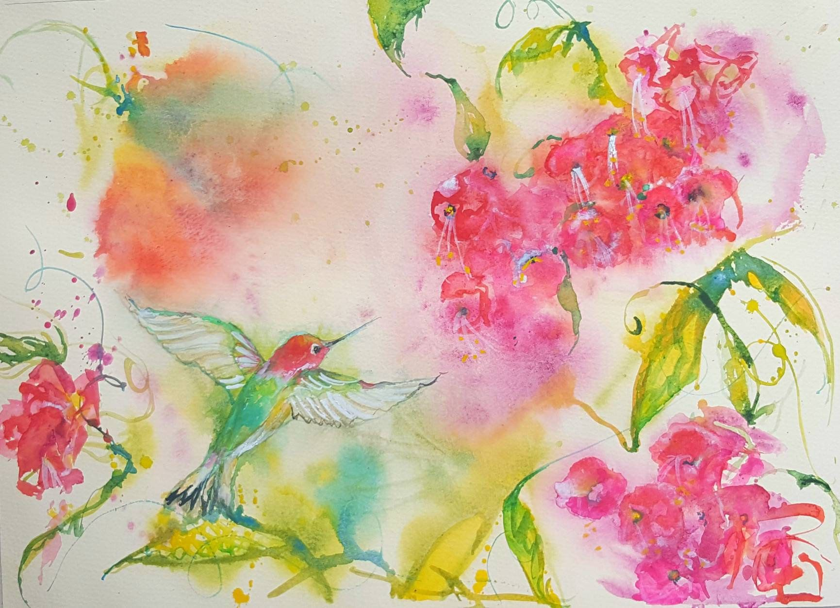 Original Hummingbird Painting Hummingbird Art Bird Hummingbird