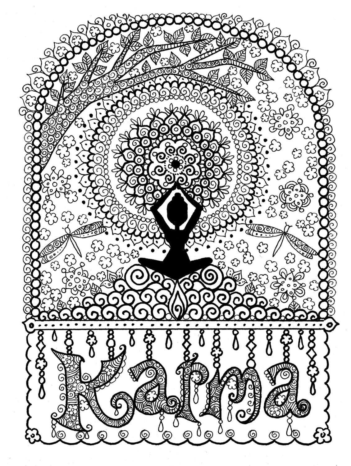 Karma Coloring Page Digital Coloring For Adults Instant Download