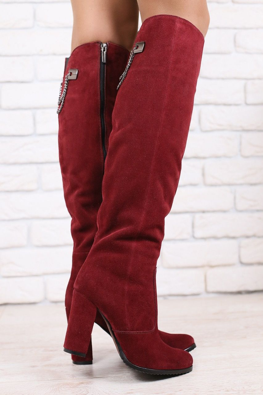 a80eddd6f код: 2837-4 Зимние женские сапоги-ботфорты, замшевые, бордовые, на ...