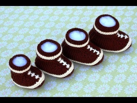 How to Knit Football Baby Booties Part 2 - YouTube | Knitting bootie ...