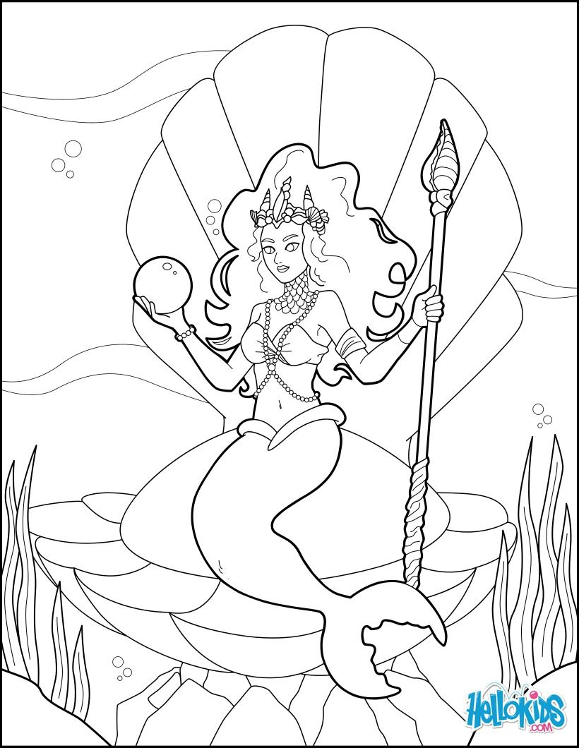 Mermaid Princess Coloring Page More Original And Princess Coloring Sheets On Hellokids Com Mermaid Coloring Pages Princess Coloring Pages Princess Coloring