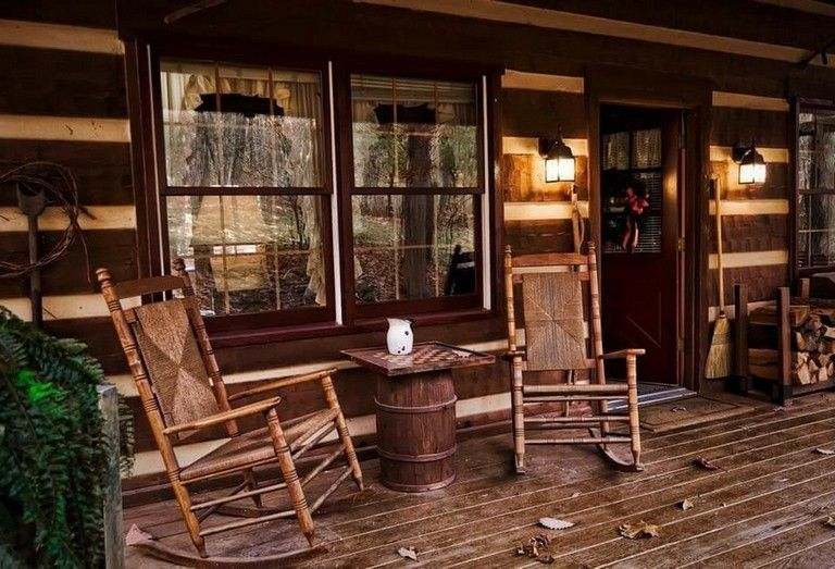 51 Lovely Rustic Farmhouse Style Porch Decorating Ideas Cabin Porches Log Homes Porch Design