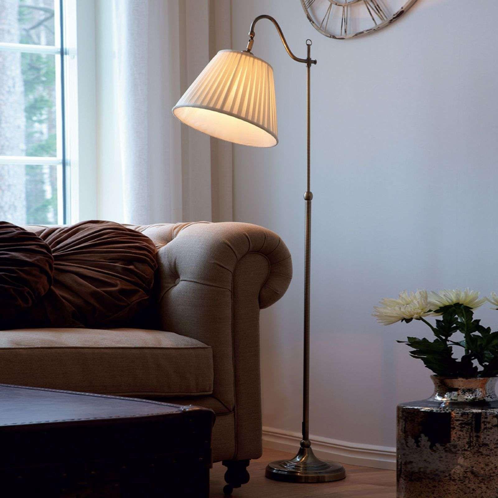 Antieke vloerlamp Charleston, oud messing | Stehlampe