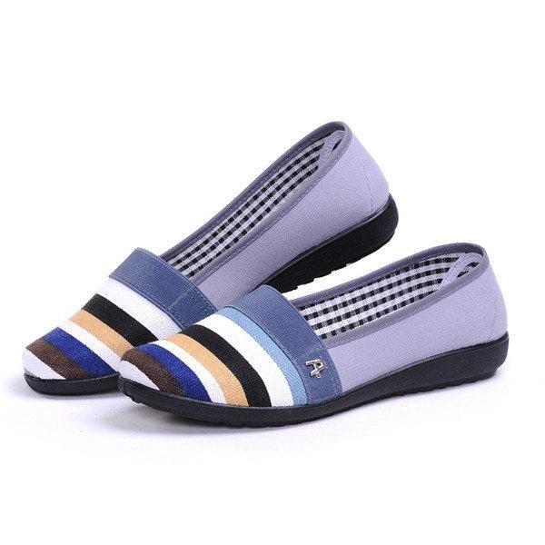 Respirant Glissement Streak Coloré Sur Les Chaussures Plates En Toile QqFLWX