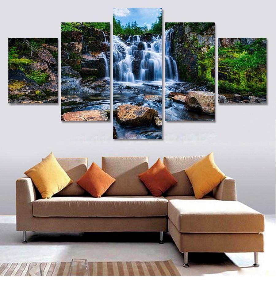 Buddha Waterfall Canvas Art Print for Wall Decor Painting