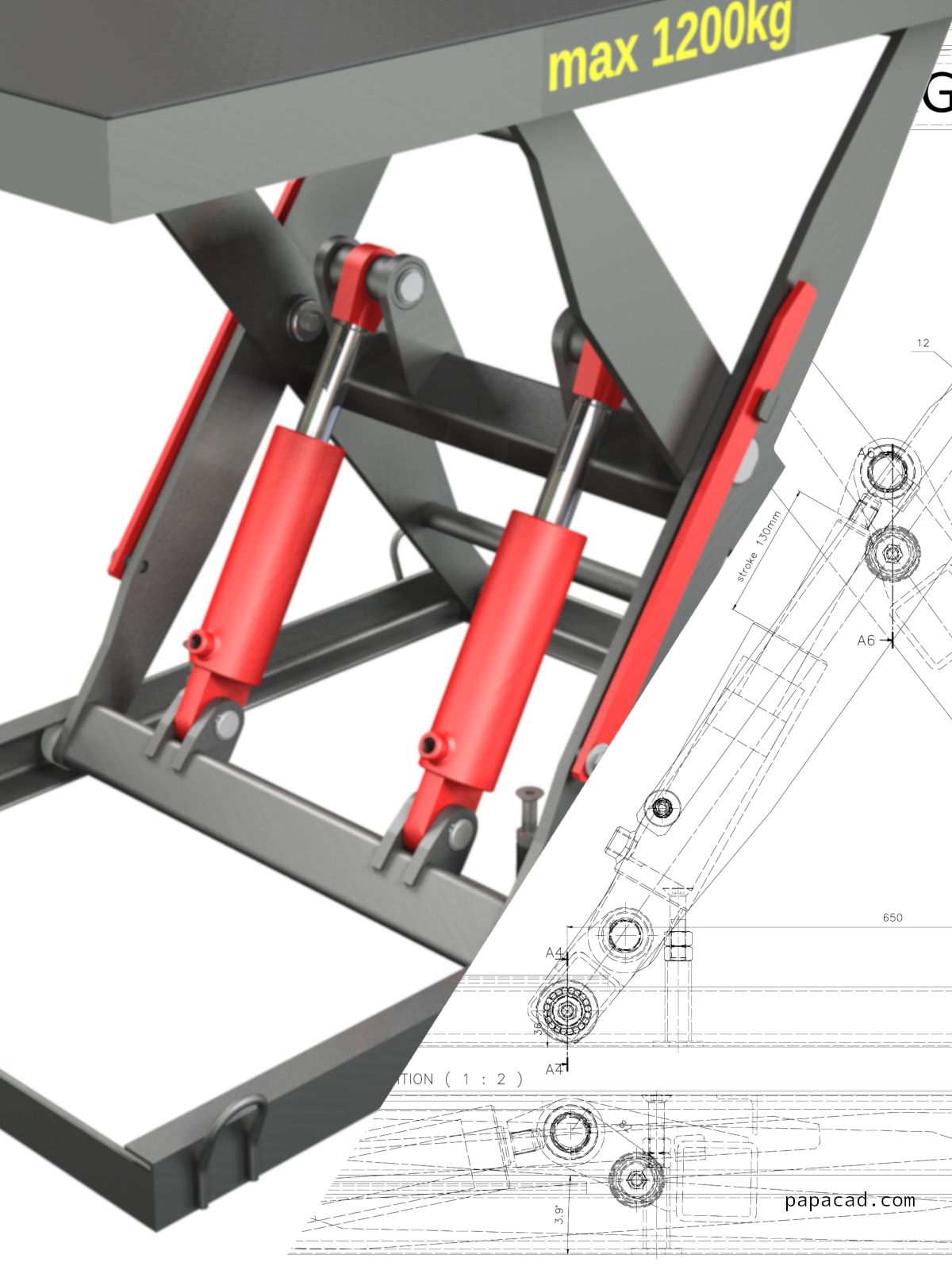 1200kg Hydraulic Scissor Table Lifter CAD design