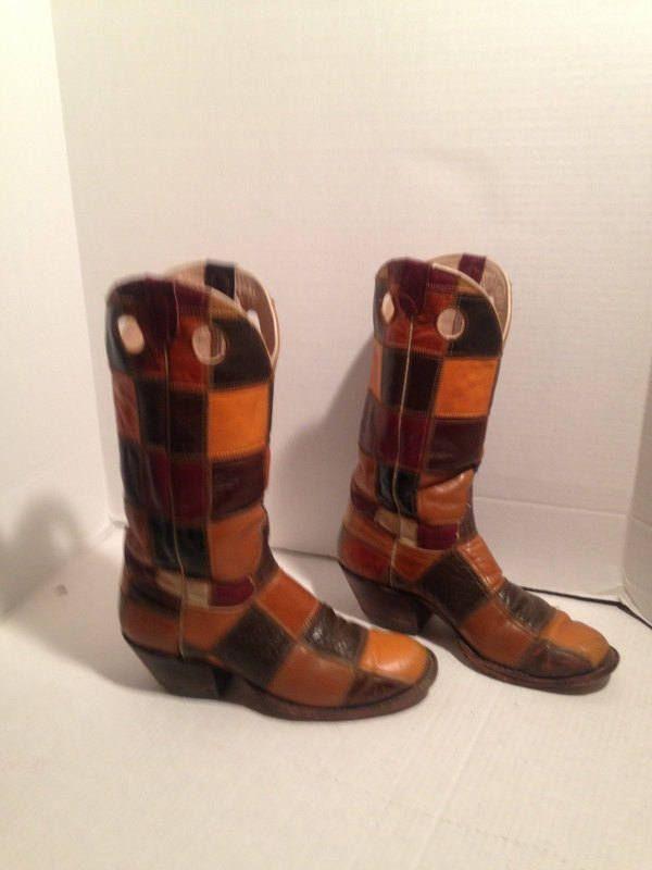 9418cd75fd9 vintage 70S LARAMIE hand made patchwork leather cowboy boots sz men ...