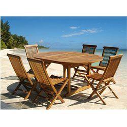 Salon de jardin teck huilé 6/8 pers Table larg 120cm + 6 chaises ...